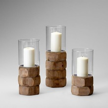 STONE BUILDING METAL CANDLE HOLDER