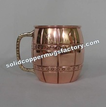solid copper mugs with brass handle