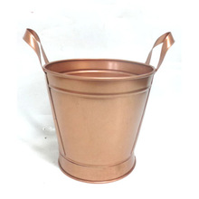 Copper Round Planter with Handle.