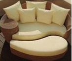 Round bed with cushion