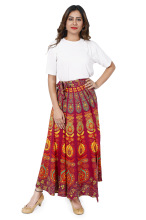 women cotton long wrap around skirt