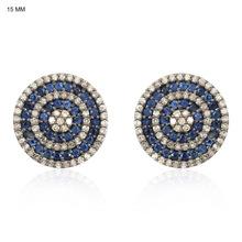 Blue Sapphire Gemstone Round Stud Earrings