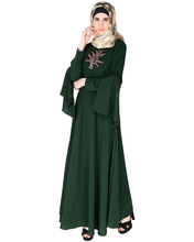 Green Crew Collar Abaya Muslim