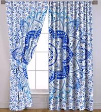 blue ombre mandala window curtain