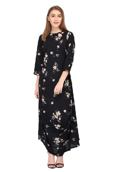 866574ac9 Black Floral Printed Maxi Dress Manufacturer in Surat Gujarat India ...