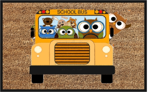 PVC Backed School Bus Print Coir Mats (SE-32170)