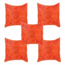 Orange Mirror Work Cushion Cover