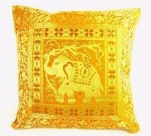Yellow Indian Mandala ethnic silk Banarsi silk elephant sari cushion covers