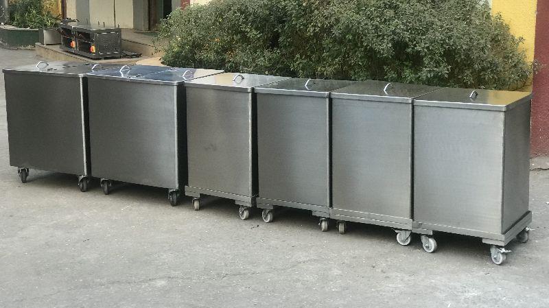 Stainless Steel Flour Bin Trolley