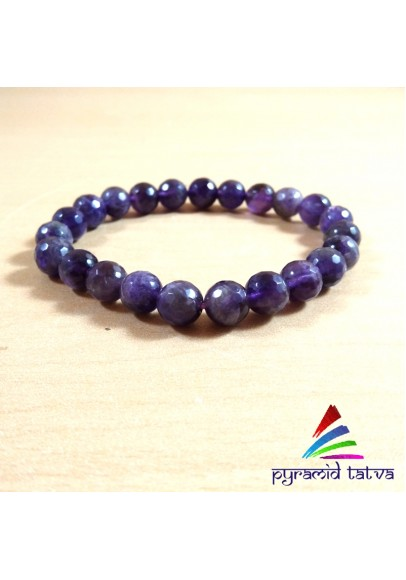 Amethyst Diamond Cut Bead Bracelet (ptb-83)