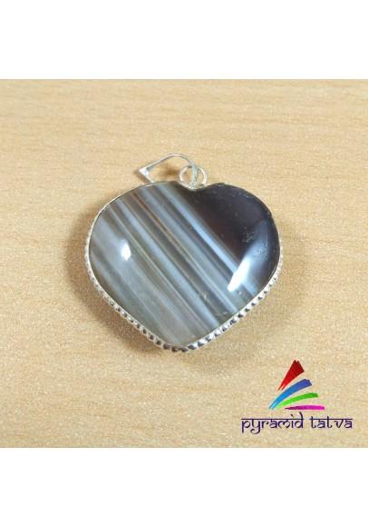 Banded Agate Heart Pendant (ptt-1494)
