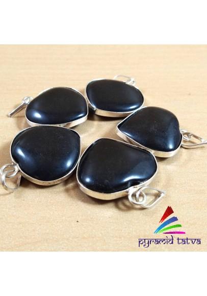 Black Agate Heart Pendant (ptb-697)