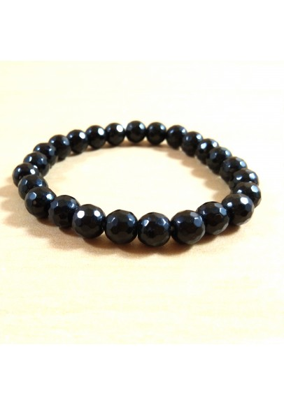 Black Obsidian Diamond Cut Beads Bracelet (ptt-54894)