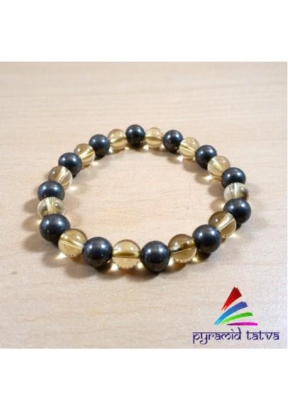 Citrine Pyrite Bead Bracelet (PTB40)