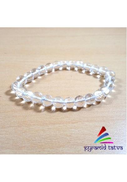 Clear Quartz Diamond Cut Beads Bracelet (ptb-0324)