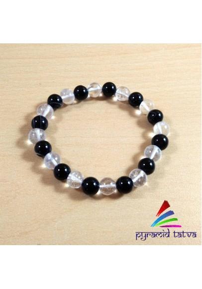 Clear Quartz With Black Tourmaline Bead Bracelet (ptb-511)