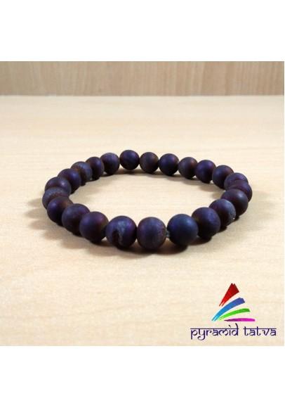 Druzy Agate Maroon Bead Bracelet (ptb-1245)