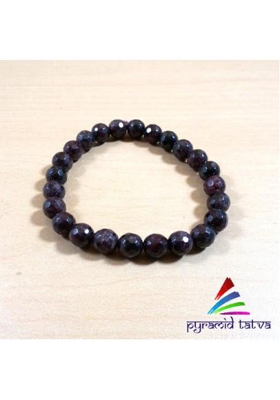 Garnet Diamond Cut Bead Bracelet (ptb-32)