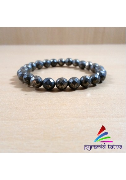 Golden Pyrite Diamond Cut Bead Bracelet (ppp-05)