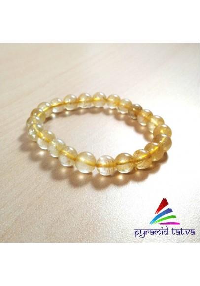 Golden Rutile Bead Bracelet (ptb-81)
