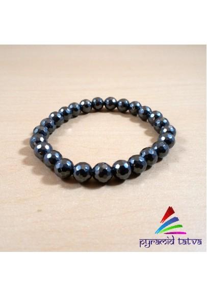 Hematite Diamond Cut Bead Bracelet (ppp-03)