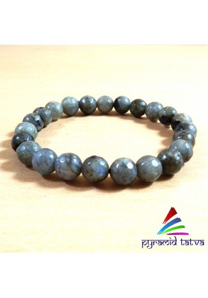 Labradorite Diamond Cut Bead Bracelet (ptb-38)
