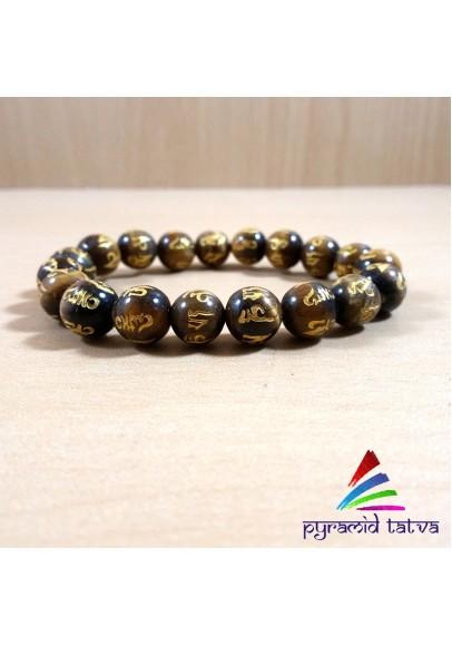 Om Mani Padme Hum Tiger Eye Bead Bracelet (ptb-88)