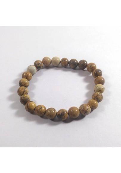 Picture Jasper Beads Bracelet (ptt-16481)