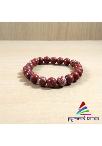 Red Jasper Diamond Cut Beads Bracelet (pta - 39)