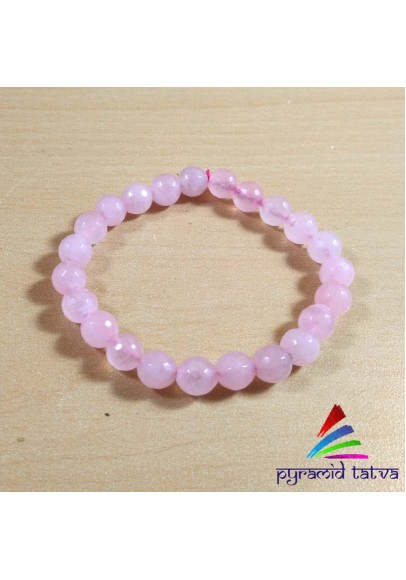 Rose Quartz Diamond Cut Bead Bracelet (PPP-9)