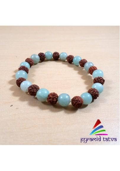 Rudraksh With Green Aventurine Bead Bracelet (ptb-512)