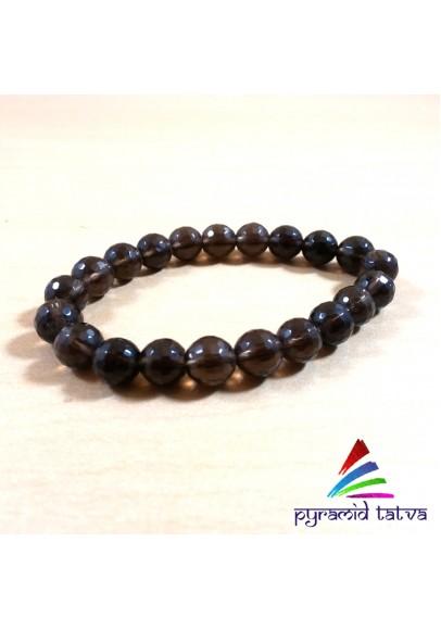 Smokey Quartz Diamond Cut Bead Bracelet (ppp-06)