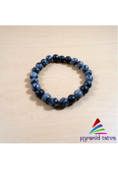 Snowflake Obsidian Beads Bracelet (ptb-32)