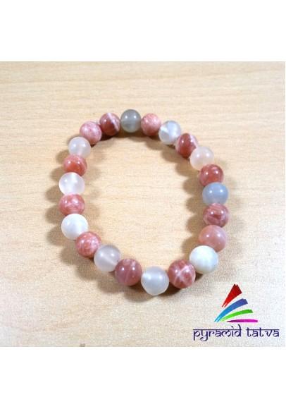 Sunstone With Moonstone Bead Bracelet (ptb-507)