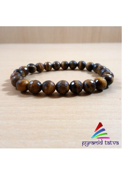 Tiger Eye Diamond Cut Bead Bracelet (ppp-8)