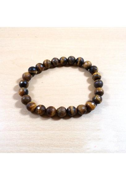 Tiger Eye Diamond Cut Beads Bracelet (ptt-21689156)