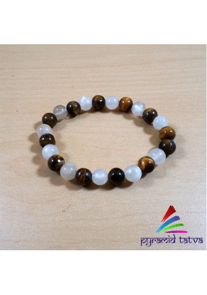 Tiger Eye With Rainbow Moonstone Bead Bracelet (ptb-506)