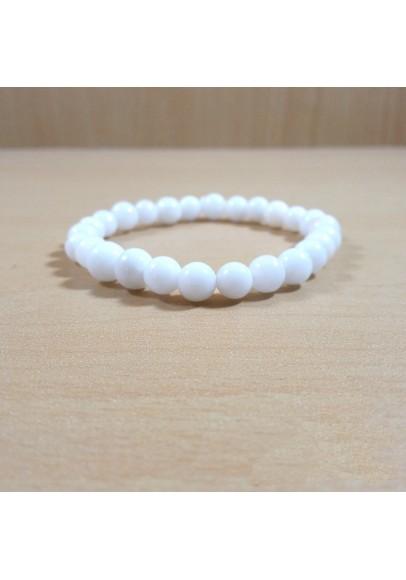 White Agate Beads Bracelet (ptt-4891)