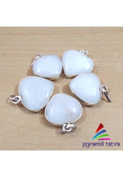 White Agate Heart Pendant (ptb-338)