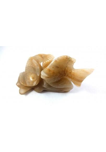 Yellow Aventurine Pair Of Fish Natural Gemstone Original Stone (ppc-86)
