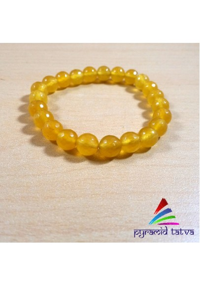 Yellow Onyx Diamond Cut Bead Bracelet (ppp-11)