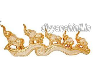 Gold Plated Elephants Statue