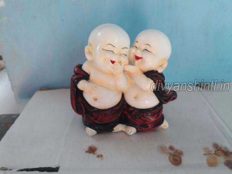 Marble Dust Laughing Buddha Couple Statue