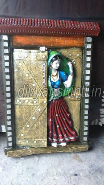 Marble Dust Rajasthani Woman Statue