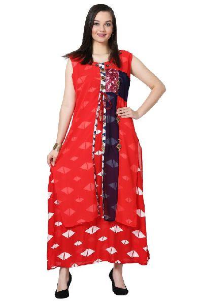 e2f733893d Button Work Designer Red Kurti Manufacturer in Delhi India by ...