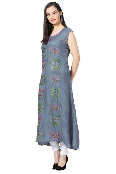 Embroidered A-line Rayon Grey Kurti