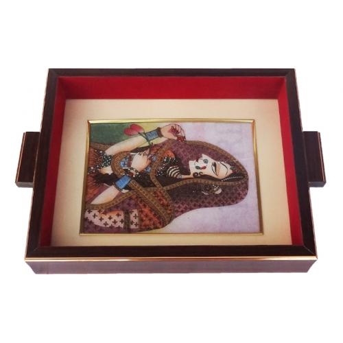 Wooden Gemstone Painting Tray Bani Thani Diwali Utility Gift