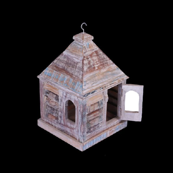 Dwar Reclaimed Wood Vintage Bird House In Natural Finish