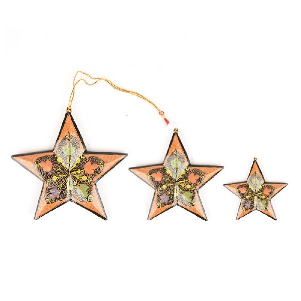 3 Peach Colored Handcrafted Christmas Star Ornaments