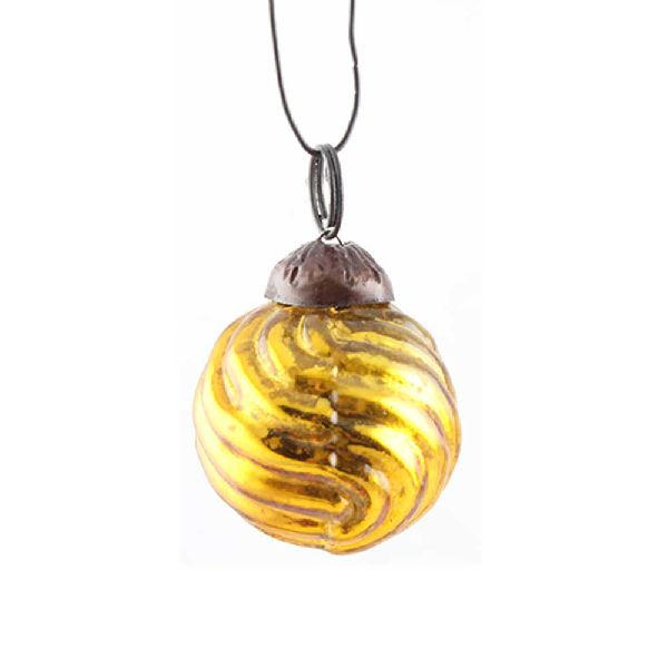 Antique Golden Striped Tiny Christmas Ornament